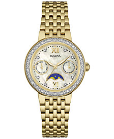 Bulova Women's Diamond Accent Gold-Tone Stainless Steel Bracelet Watch 32mm 98R224