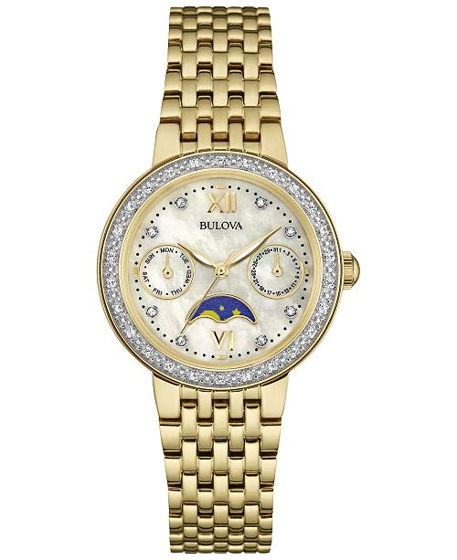 Bulova Women's Diamond Accent Gold-Tone Stainless Steel Bracelet Watch 32mm 98R224