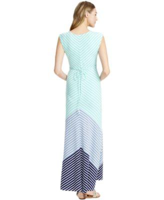 Aqua Stripe Maxi Dress