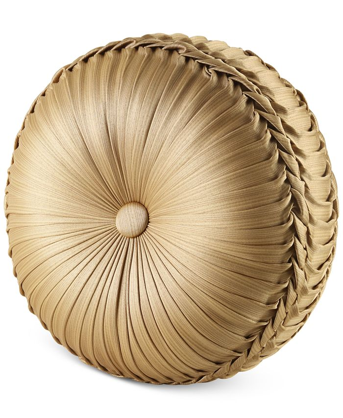 J Queen New York - Napoleon Gold Tufted Round Decorative Pillow