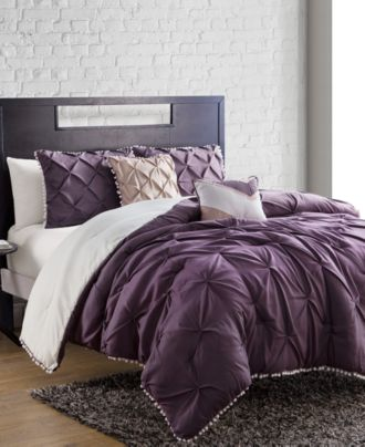 closeout! pom pom comforter sets - bed in a bag - bed & bath - macy's