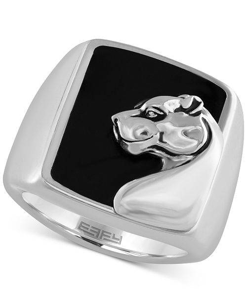EFFY Collection Gento by EFFY Men's Onyx (7-9/10 ct.t.w.) Panther Head Ring in Sterling Silver