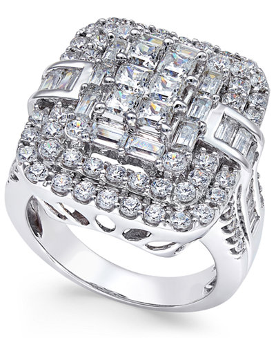 Diamond Square Cluster Ring (3 ct. t.w.) in 14k White Gold