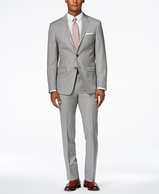 Calvin Klein Men's Extra Slim-Fit Light Grey Suit - Suits & Suit ...