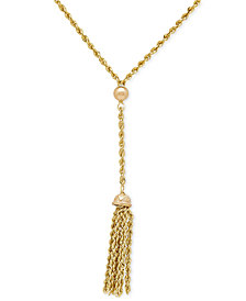Rope Chain and Tassel Lariat Necklace in 14k Gold