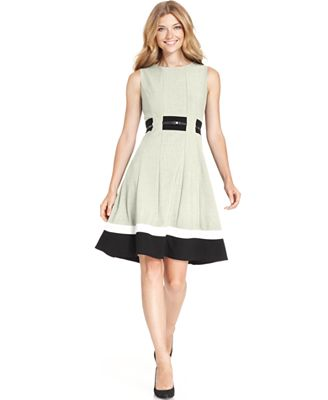 Calvin Klein Petite Colorblocked Belted Fit Amp Flare Dress