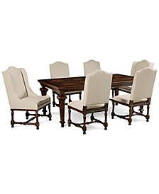 CLOSEOUT! Cortwright 7 Piece Dining Set (Expandable Dining Table, 4 Side Chairs & 2 Host Chairs)