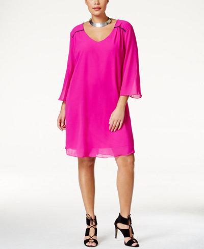 Ing plus size neon shift dress dresses plus sizes macy 39 s for Macy s wedding dresses plus size