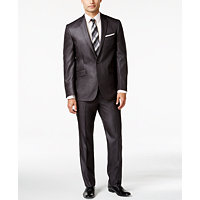 Kenneth Cole Reaction Slim-Fit Charcoal Basketweave Suit