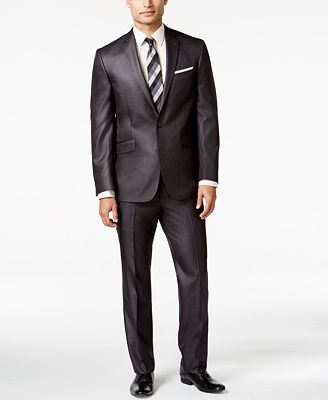 Kenneth Cole Reaction Slim-Fit Charcoal Basketweave Suit - Suits ...