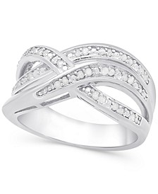 Diamond (1/4 ct. t.w.) Weave-Style Ring in Sterling Silver or 18k Gold-Plated Sterling Silver