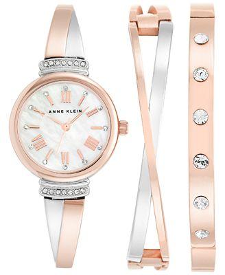 Anne Klein Women S Two Tone Bracelet Watch Bracelets Set 26mm Ak