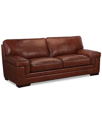 Myars 91 Quot Leather Sofa Furniture Macy S
