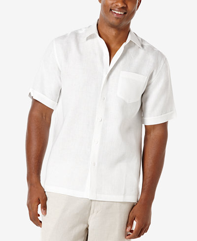 cubavera men 39 s 100 linen short sleeve shirt casual