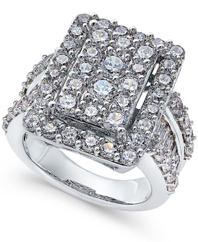 Diamond Square Cluster Engagement Ring (4 ct. t..w.) in 14k White Gold
