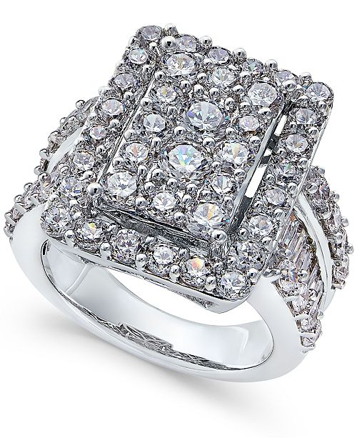 Macy's Diamond Square Cluster Engagement Ring (4 ct. t..w.) in 14k White Gold