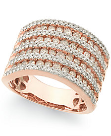 Diamond Multi-Row Band Ring (1-1/2 ct. t.w.) in 14k Rose Gold