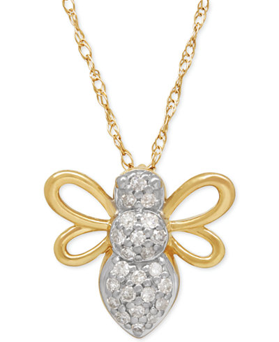 Diamond Bee Pendant Necklace (1/10 ct. t.w.) in 10k Gold
