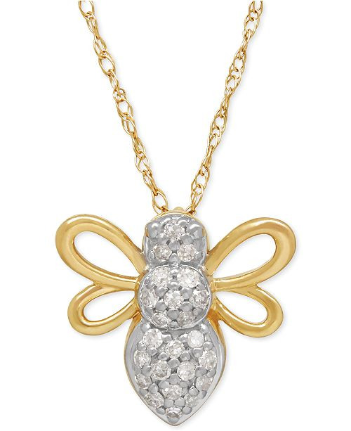 Macys diamond bee pendant necklace 110 ct tw in 10k gold main image aloadofball