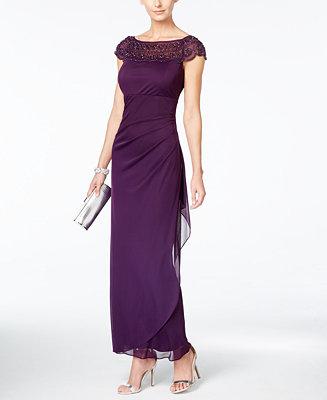 MSK Embellished Side-Ruffle Gown - Dresses - Women - Macy's