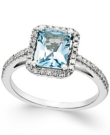 Aquamarine (1-1/5 ct. t.w.) and Diamond (1/4 ct. t.w.) Ring in 14k White Gold