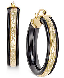 Onyx Hoop Earrings (26 ct. t.w.) in 14k Gold