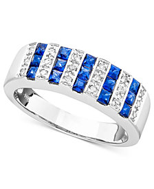 Sapphire (9/10 ct. t.w.) and Diamond (1/10 ct. t.w.) Ring in 14k White Gold (also in Emerald)