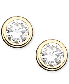 Children's 14k Gold Cubic Zirconia Bezel Earring