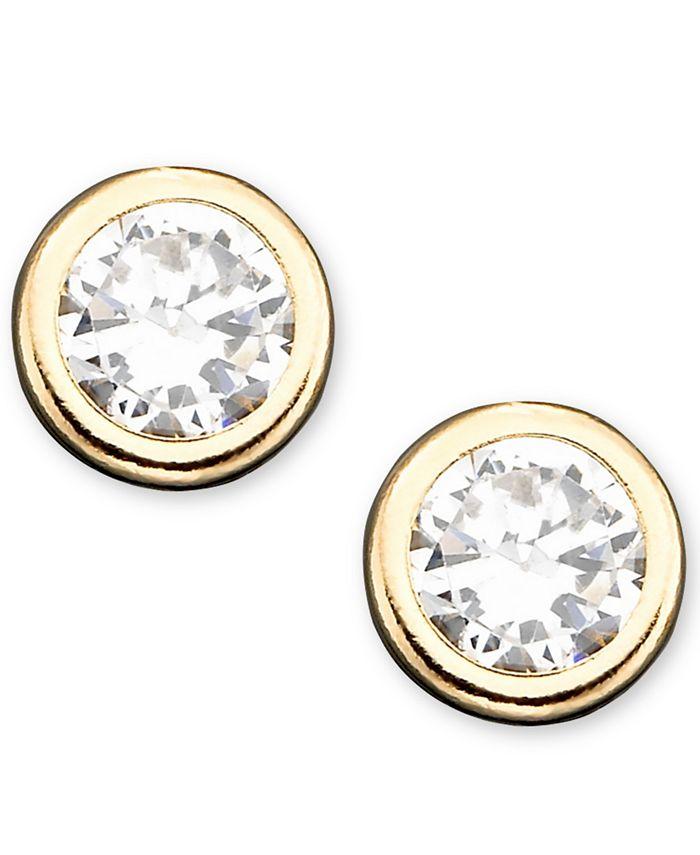 Macy's - Children's 14k Gold Cubic Zirconia Bezel Earring