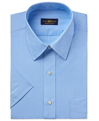 Club Room Men's Easy Care Rich Blue Solid Short-Sleeve Dress Shirt, Created for Macy's