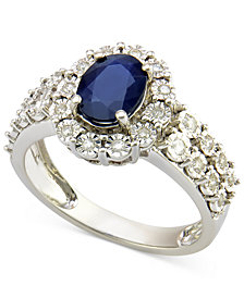 Sapphire (1-1/4 ct. t.w.) and Diamond (1/4 ct. t.w.) Ring in 14k White Gold (Also Available in Tanzanite)