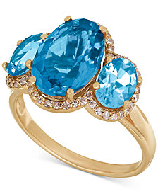 Blue Topaz (6 ct. t.w.) and Diamond (1/5 ct. t.w.) Three Stone Ring in 14k Gold