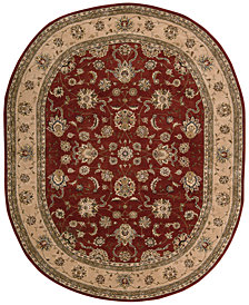 "Nourison Wool & Silk 2000 2203 Brick 7'6"" x 9'6"" Oval Rug"