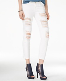 GUESS Ripped Ordeal Cropped Skinny Jeans