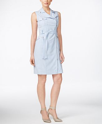 Calvin Klein Belted Asymmetrical-Zip Sheath Dress