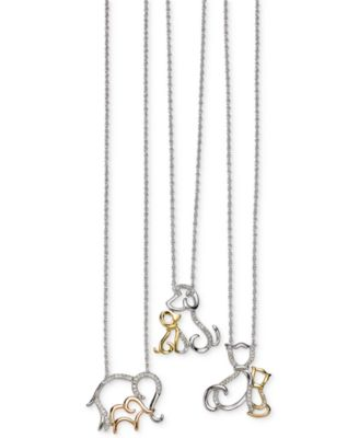 Macys diamond family elephant pendant necklace 110 ct tw in this item is part of the family animal pendant necklaces in sterling silver and 14k gold aloadofball Image collections