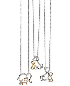 Family Animal Pendant Necklaces in Sterling Silver and 14k Gold