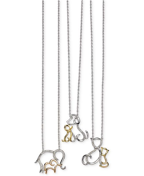 Macys family animal pendant necklaces in sterling silver and 14k celebrate the extraordinary bond between mothers and their children with these diamond accented baby animal and mother pendant necklaces set in sterling aloadofball Image collections