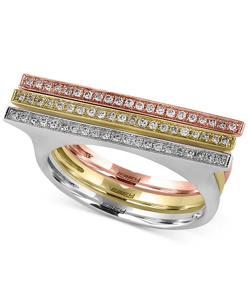 EFFY Collection Trio by EFFY Diamond Ring (1/5 ct. t.w.) in 14k Yellow, White and Rose Gold