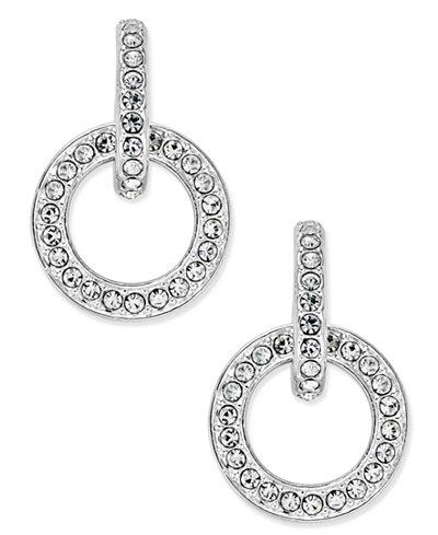 Danori Silver-Tone Pavé Open Link Drop Earrings, Created for Macy's