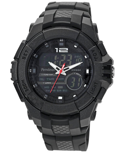 Armitron Men's Analog-Digital Chronograph Black Resin Bracelet Watch 53mm 20-4942BLK