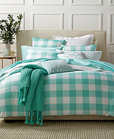 CLOSEOUT! Charter Club Damask Designs Gingham Teal 3 Piece Duvet Sets, Created for Macy's