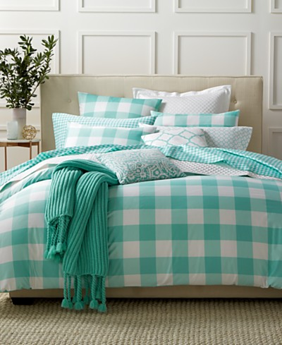 Charter Club Damask Designs Gingham Teal 3 Piece Duvet Sets, Created for Macy's