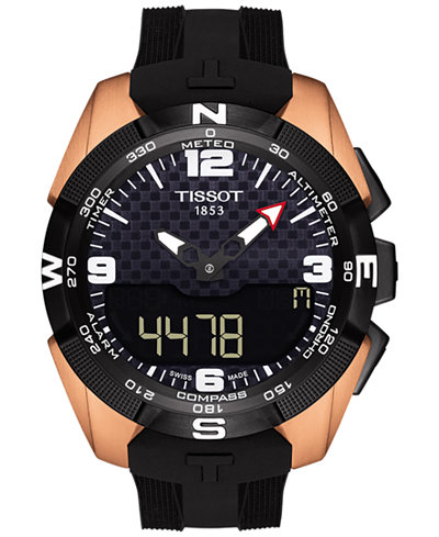 Tissot Men's Swiss Solar NBA T-Touch Expert Black Rubber Strap Watch 45mm T0914204720700