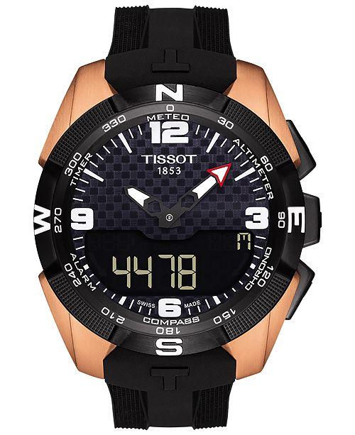 Men's Swiss Solar NBA T-Touch Expert Black Rubber Strap Watch 45mm T0914204720700
