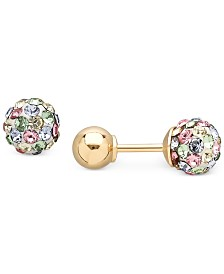 Children S Multi Crystal Ball Stud Reversible Earrings In 14k Gold
