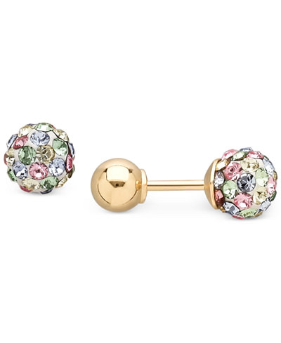 Children's Multi-Crystal Ball Stud Reversible Earrings in 14k Gold