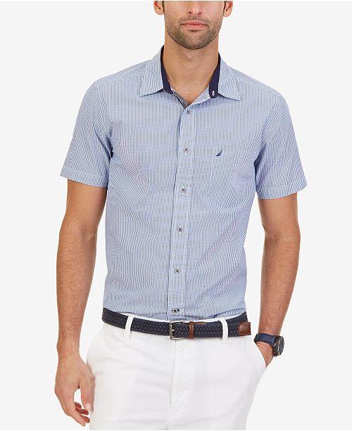 96f320c8f Nautica Men's Mini Gingham Short-Sleeve Shirt - Casual Button-Down ...