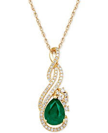 Necklaces macys emerald 1 110 ct tw and diamond 1 mozeypictures Image collections