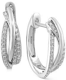 Pavé Classica by EFFY Diamond Hoop Earrings (3/8 ct. t.w.) in 14k White, Yellow or Rose Gold
